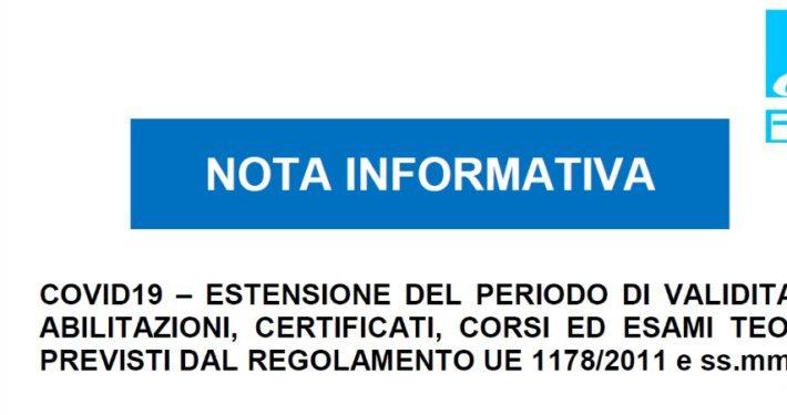 Nota informativa ENAC estensione abilitazioni
