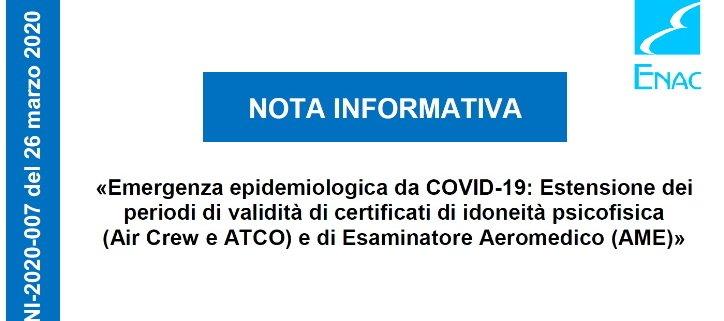 Nota infromativa EASA Covid-19